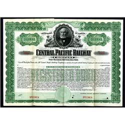 Central Pacific Railway Co. 1899, Specimen $10,000, Registered 4% Gold Bond.