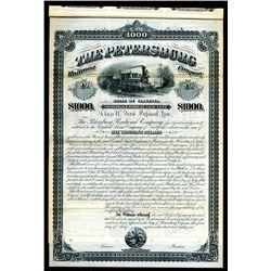 Petersburg Railroad Co., 1881 Specimen 5% Gold Coupon Bond.