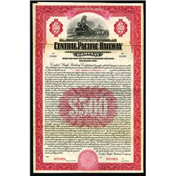 Central Pacific Railway Co., 1925, $500 Specimen 5% Gold Coupon Bond.