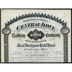Central Iowa Railway Co., Divisional, 1882 Specimen 6% Gold Coupon Bond.