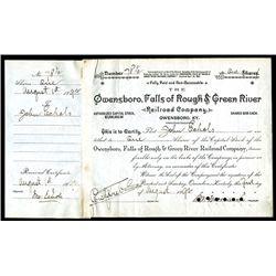 John Echols, Confederate Civil War General Signature on Owensboro, Falls of Rough and Green River Ra