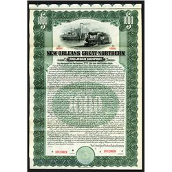 New Orleans Great Northern Railroad Co. 1905. Specimen 5% Gold Coupon Bond.