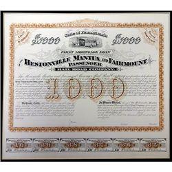 Hestonville Mantua and Fairmount Passenger Railroad 1875 Proof Bond.