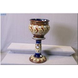 """Antique Doulton Lambeth glazed stoneware bowl and pedestal decorated in a stylized floral motif 20"""""""