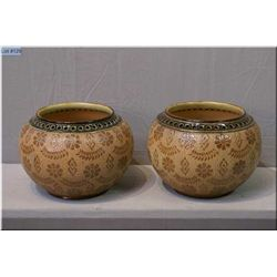 A pair of Doulton Lambeth/Doulton Slater bowls with hand tooled and hand applied glaze finish and pi