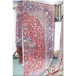 Large Iranian wool area rug with center medallion, overall geometric floral and multiple borders in
