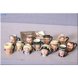 Complete Royal Doulton Tinies Charles Dickenson character jug collection including Mr. Bumble, Scroo