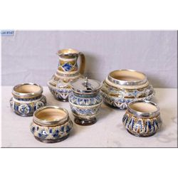 Six pieces of antique Doulton Lambeth pottery including pitcher, bowl, mustard, open salts or spice