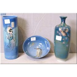 Three pieces of Royal Doulton Titanium hand painted pottery including bird motif vase and bowl and O