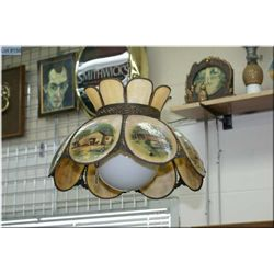 A ceiling fixture with eight rural building scenes pictorial panels