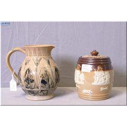 "Doulton Lambeth tulip motif 5 1/2"" pitcher and a Royal Doulton 5"" lidded tobacco pot"