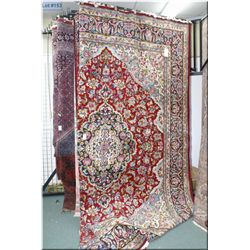 Large Iranian wool area rug with center medallion, overall floral pattern and multiple borders in sh