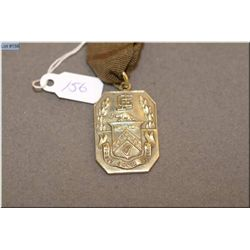 WWI Sir John C. Eaton 14kt yellow gold service medal complete with ribbon and 14kt gold pin