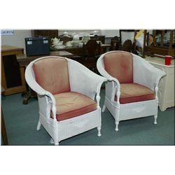 "A pair of ""Imperial Rattan Co. Ltd"" Stratford, antique wicker armchairs"