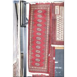 Wool runner with deep red background and multiple mini medallion (I only type the descriptions, I do