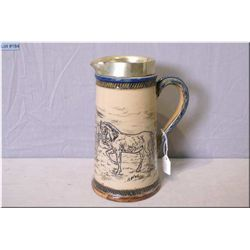 "A Doulton Lambeth horse motif stoneware pitcher, 8"" in height"