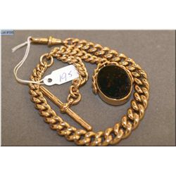 Antique English 9ct yellow gold watch chain with swivel bezel agate fob, note every link is marked 9