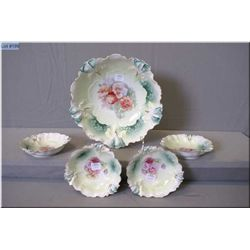 R.S. Prussia berry bowl and four matching fruit nappies