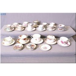A selection of collectible cups and saucers including Royal Albert, Royal Vale, Royal Staffordshire