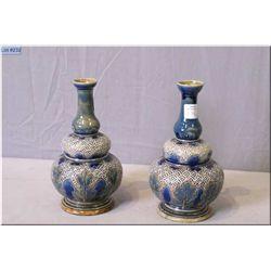 "Pair of Doulton Lambeth majolica style glazed stoneware vases 7 1/2"" in height"