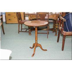 Antique single pedestal tilt top occasional table