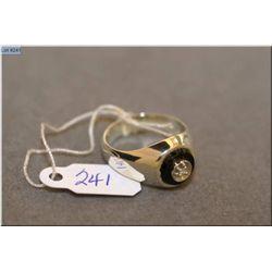 Gent's vintage Birks 10kt white gold ring set with single diamond