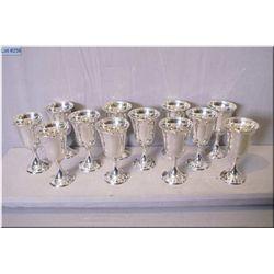 """Twelve Birks sterling silver goblets 6 1/2"""" in height"""