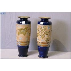 """A pair of Royal Doulton leaf motif glazed stoneware vases 14"""" in height"""