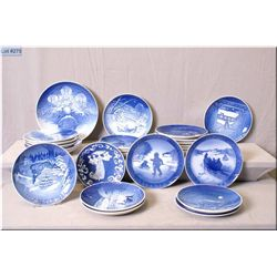 Large selection of blue and white collector's plates including Royal Copenhagen