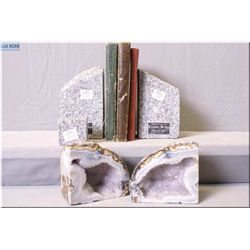 A pair of granite book ends, made from piece of the London Bridge and a pair of geode book ends plus