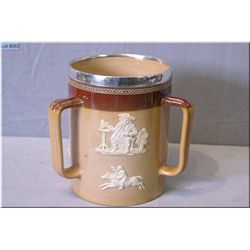 """Doulton Lambeth glazed salt ware loving cup with silverplate rim with script 6 1/2"""" in height"""