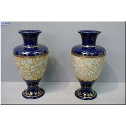 """A pair of matched cobalt and gold Doulton Slater vases 13 1/2"""""""