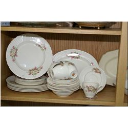 A selection of collectibles including a Myott dinner service for six including dinner plates, side p