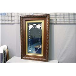 """Antique oak framed etched, bevelled wall mirror, overall dimensions 62"""" X 20"""""""