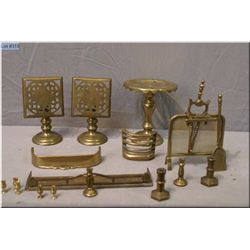 Selection of brass doll sized items including fire guard and fenders, tables etc.