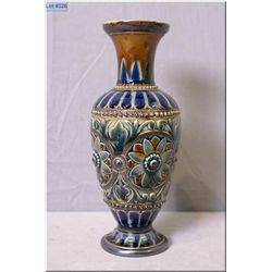 "Antique Doulton Lambeth vase decorated in cobalt floral medallion motif 9"" in height"