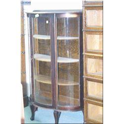 Antique Canadiana triple curved glass, single door curio cabinet