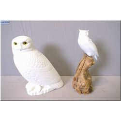 """A cast owl figure 10"""" in height and a smaller owl figure on a branch"""