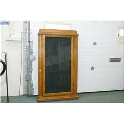 "Antique quarter cut oak wall mount playbill display cabinet, overall dimensions 60"" X 36"""