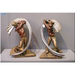 """A pair of """"He"""" and """"She"""" stylized golfing statues by Austin, 16"""" in height"""