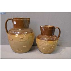 """Two Doulton Lambeth antique jugs, both figural 10"""" and 8"""""""