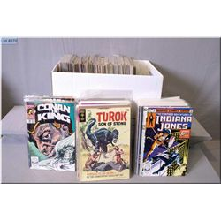 A large selection of vintage comic books including detective comics, Eternal Warrior, Conan the King