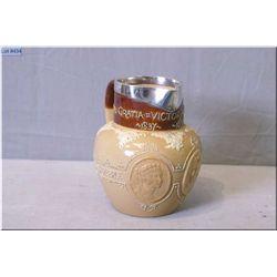 Antique Doulton Lambeth salt glazed jug with sterling silver rim commemorative Queen Victoria comple