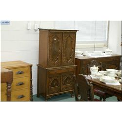 Antique oak and walnut court cupboard with to match lot 453