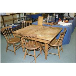 Antique Canadiana dining table with two leaves plus a set of five spindle back chairs