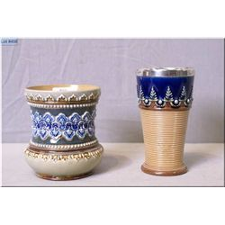 """Two pieces of Doulton Lambeth pottery including a sterling silver edged vase 4 1/2"""" in height"""