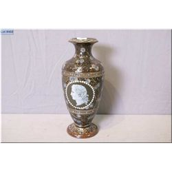 """Doulton Lambeth glazed stoneware vase hand painted with overall florals and two portrait cameos, 10"""""""