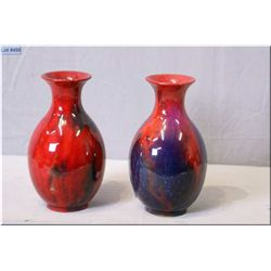 """A pair of Royal Doulton flamb' vases 6 1/2"""" in height"""