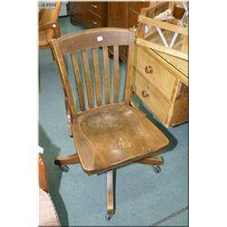 Murphy brand oak swivel office chair on castors