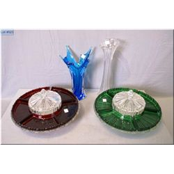 A selection of vintage glass ware including two art glass vases and two glass divided with lazy Susa